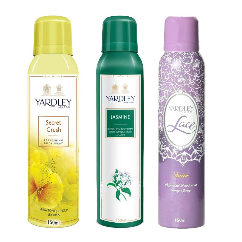 Yardley London Secret Crush, Jasmine, Lace Satin Pack of 3 Deodorants