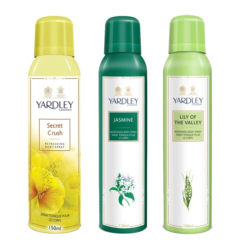 Yardley London Secret Crush, Jasmine, Lily Of The Valley Pack of 3 Deodorants