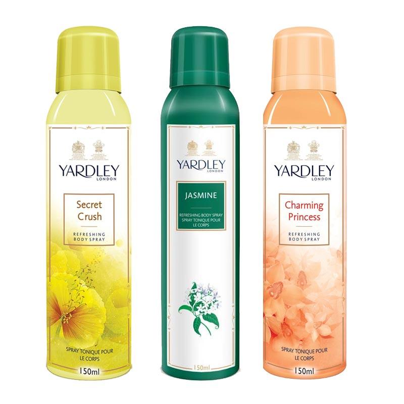 Yardley London Secret Crush, Jasmine, Charming Princess Pack of 3 Deodorants
