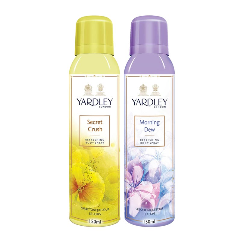 Yardley London Secret Crush, Morning Dew Pack of 2 Deodorants