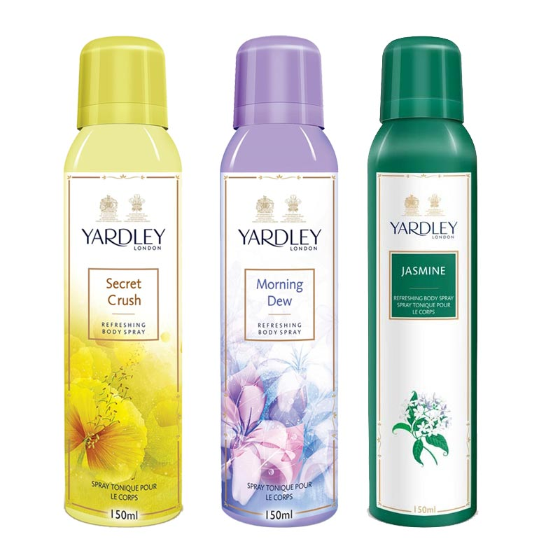 Yardley London Secret Crush, Morning Dew, Jasmine Pack of 3 Deodorants