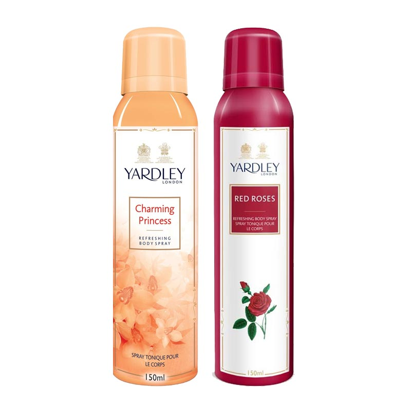 Yardley London Charming Princess, Red Roses Pack of 2 Deodorants