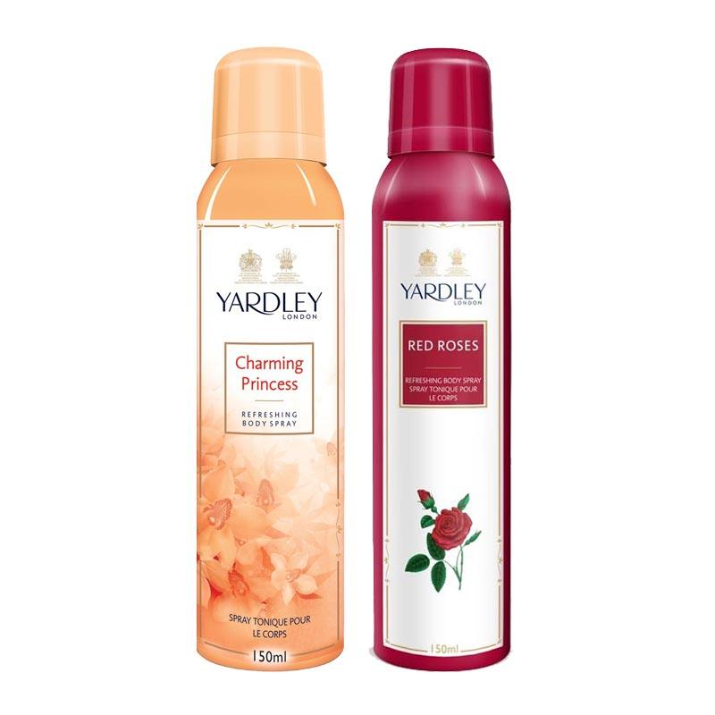Yardley London Charming Princess, Red Roses Pack of 2 Deodorants