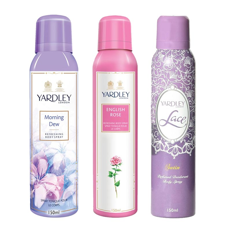 Yardley London Morning Dew, English Rose, Lace Satin Pack of 3 Deodorants