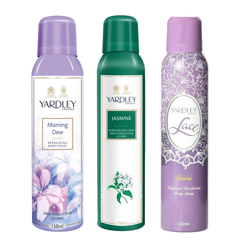 Yardley London Morning Dew, Jasmine, Lace Satin Pack of 3 Deodorants