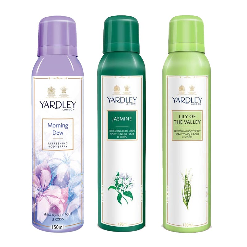 Yardley London Morning Dew, Jasmine, Lily Of The Valley Pack of 3 Deodorants