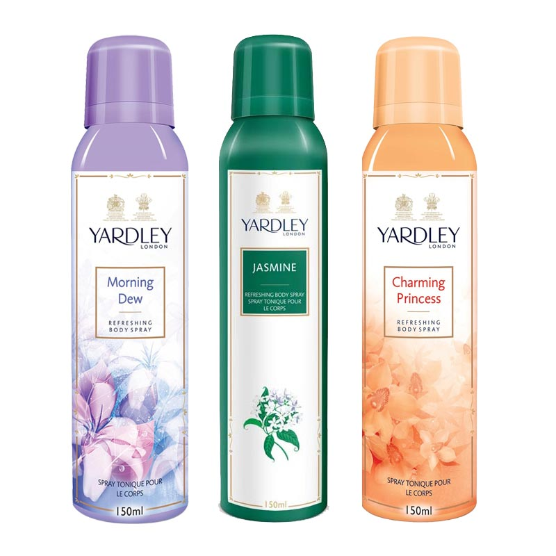 Yardley London Morning Dew, Jasmine, Charming Princess Pack of 3 Deodorants