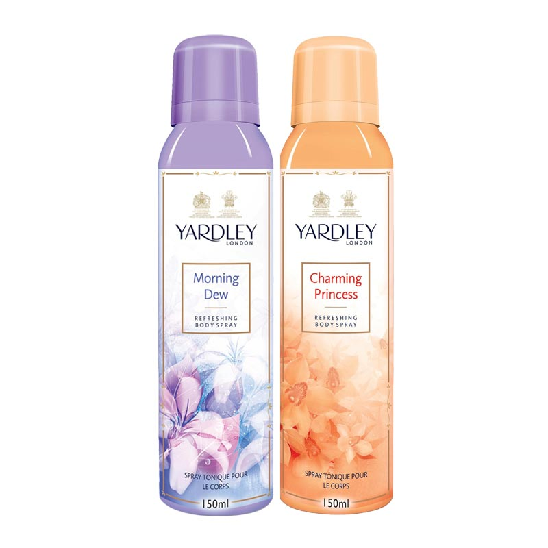 Yardley London Morning Dew, Charming Princess Pack of 2 Deodorants