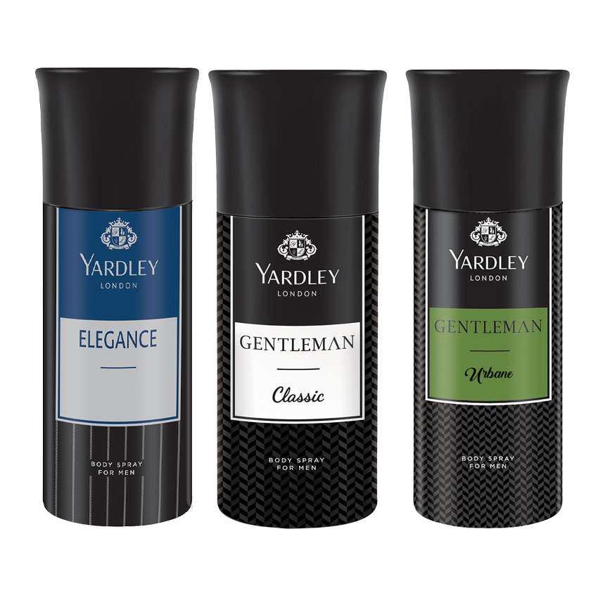 Yardley London Elegance, Gentleman, Gentleman Urbane Set of 3 Deodorants