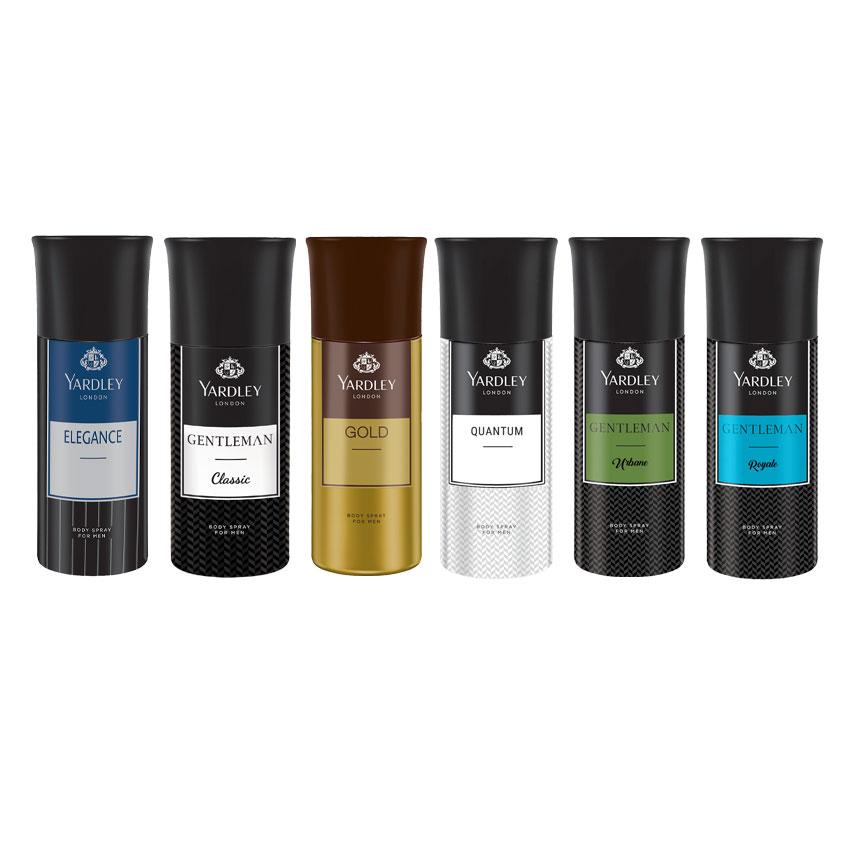 Yardley London Elegance, Gentleman, Gold, Quantum, Gentleman Urbane, Gentleman Royale Set of 6 Deodorants