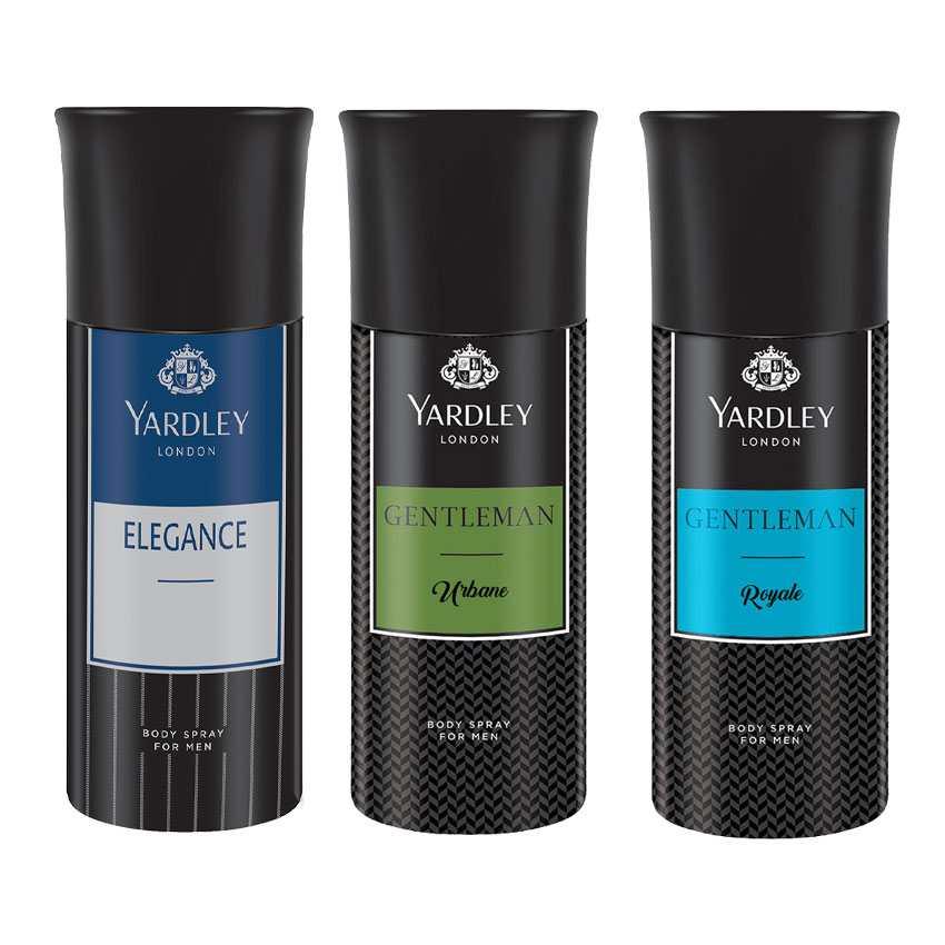 Yardley London Elegance, Gentleman Urbane, Gentleman Royale Set of 3 Deodorants