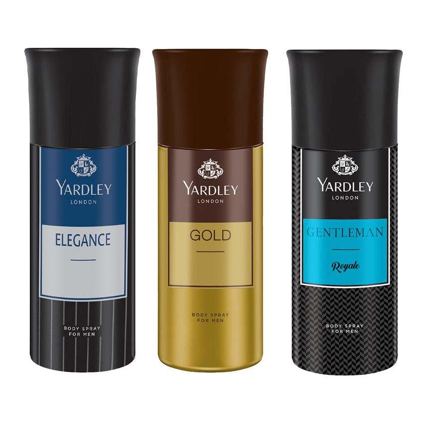 Yardley London Elegance, Gold, Gentleman Royale Set of 3 Deodorants