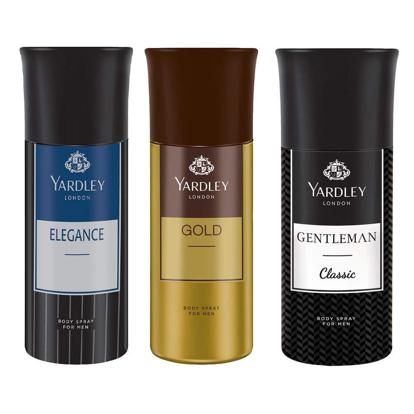 Yardley London Elegance, Gold, Gentleman Urbane Set of 3 Deodorants