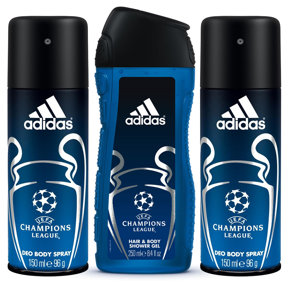 Adidas UEFA Champions League Combo Of 2 in 1 Shower Gel And 2 Deodorants