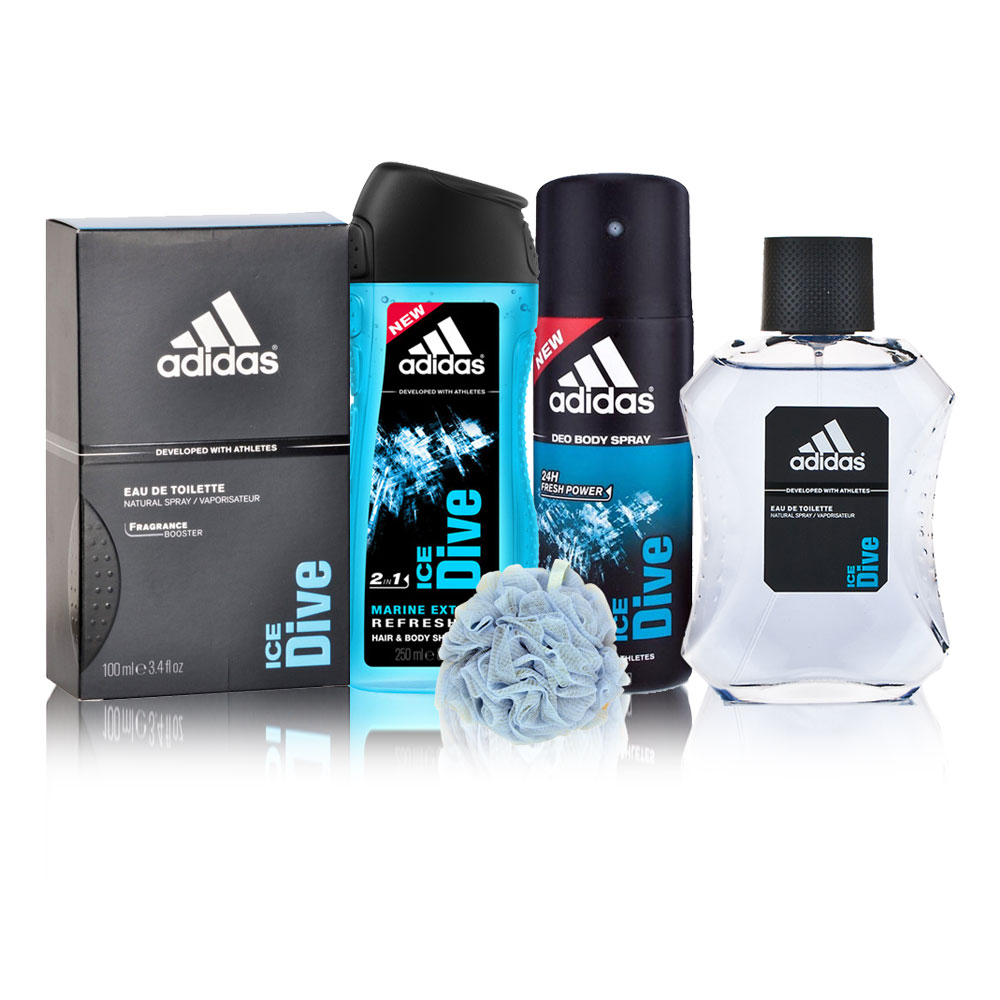 Adidas Ice Dive Perfume, Deodorant, Shower Gel And Loofah Combo Set