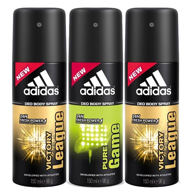 Adidas 2 Victory League And Pure Game Pack Of 3 Deodorants