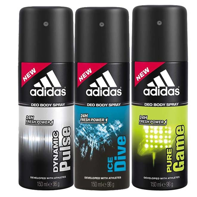 Adidas Ice Dive, Pure game And Dynamic Pulse Pack of 3 Deodorants