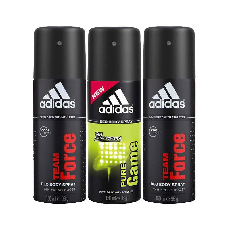 Adidas Pack Of 3 Deodorants 2 Team Force And 1 Pure Game - Buy 2 Get 1 Free