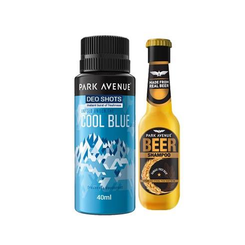 Park Avenue Combo Of Cool Blue Shot Deodorant And Mini Beer Shampoo