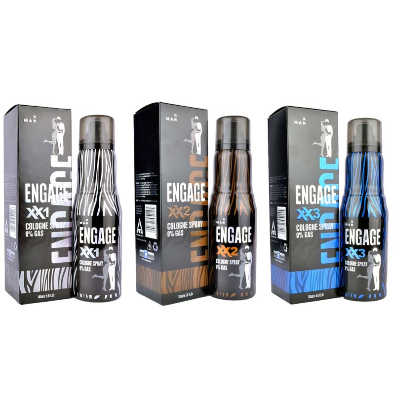 Engage XX1, XX2 And XX3 Pack Of 3 No Gas Cologne Deodorant