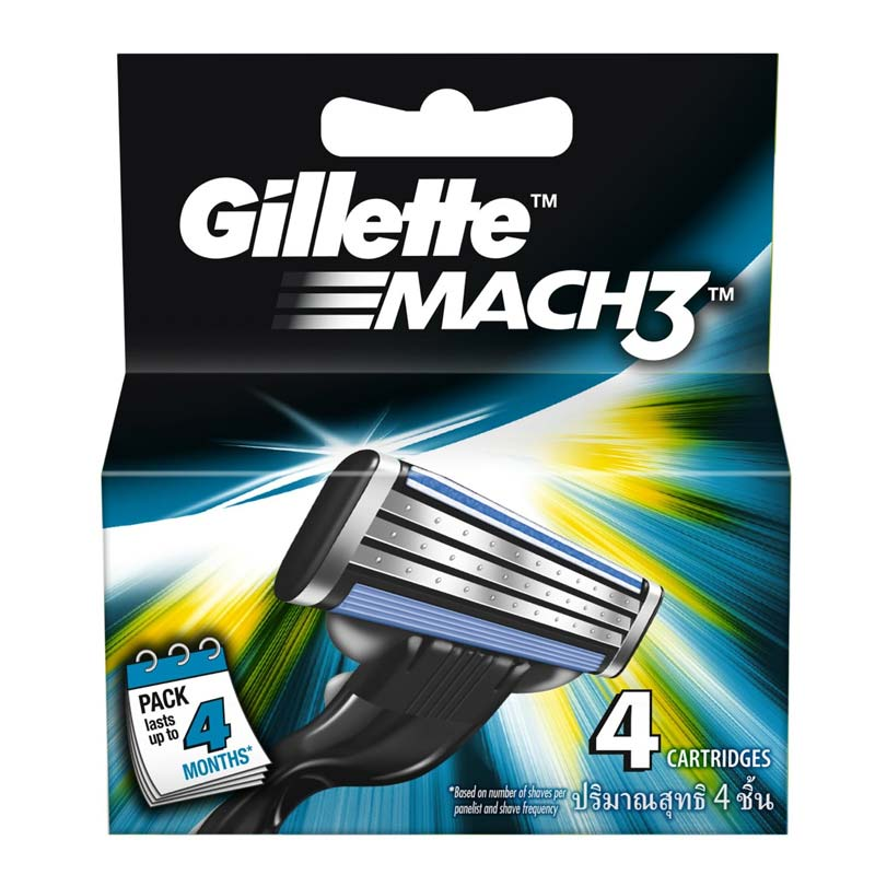Gillette Mach 3 Pack Of 4 Cartridges