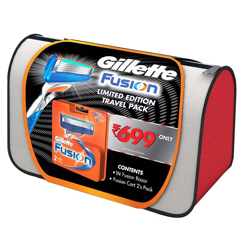 Gillette Fusion Limited Edition 2 Piece Pack With Free Travel Pouch