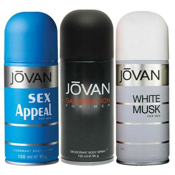 Jovan White Musk, Satisfaction, Black Musk Pack of 3 Deodorants