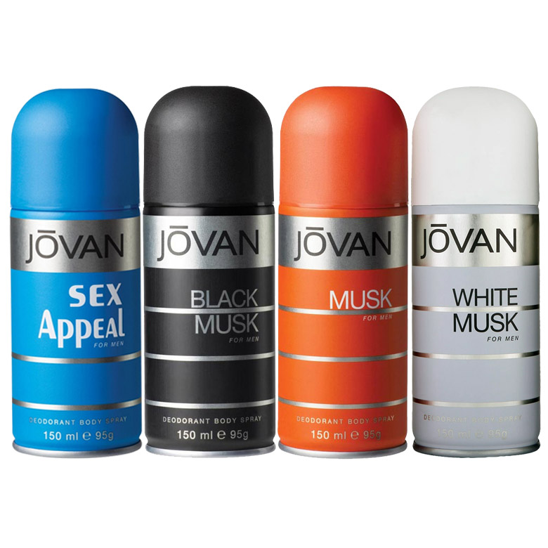 Jovan Musk, White Musk, Black Musk, Sex Appeal Pack of 4 Deodorants