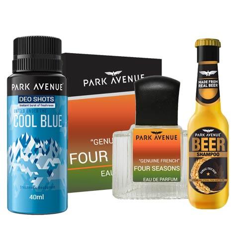 Park Avenue Combo of 4 Seasons Perfume, Cool Blue Deodorant And Beer Shampoo