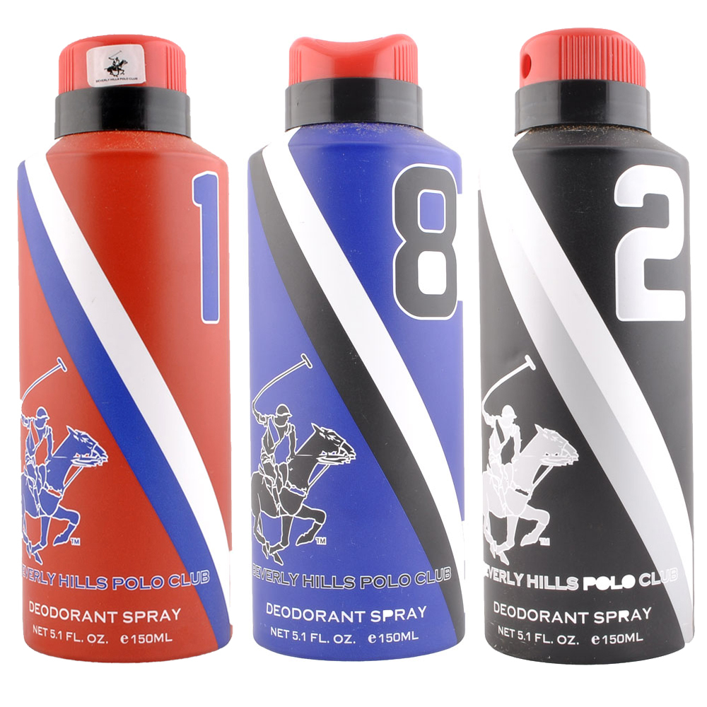 Beverly Hills Polo Club 1,8,2 Pack of 3 Deodorants