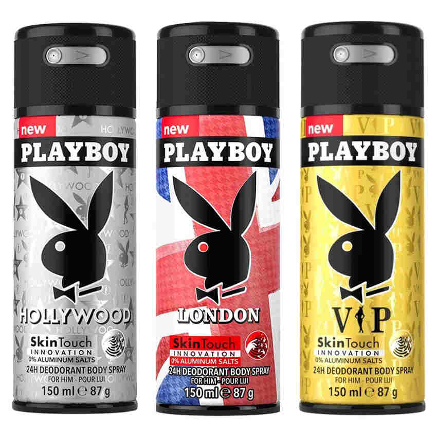 Playboy Hollywood, London, VIP Pack of 3 Deodorants for men