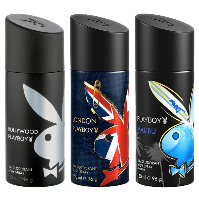 Playboy Hollywood, London, Malibu Pack of 3 Deodorants for men