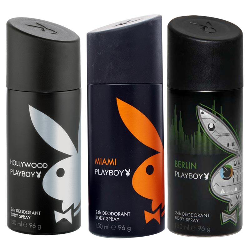 Playboy Hollywood, Miami, Berlin Pack of 3 Deodorants for men