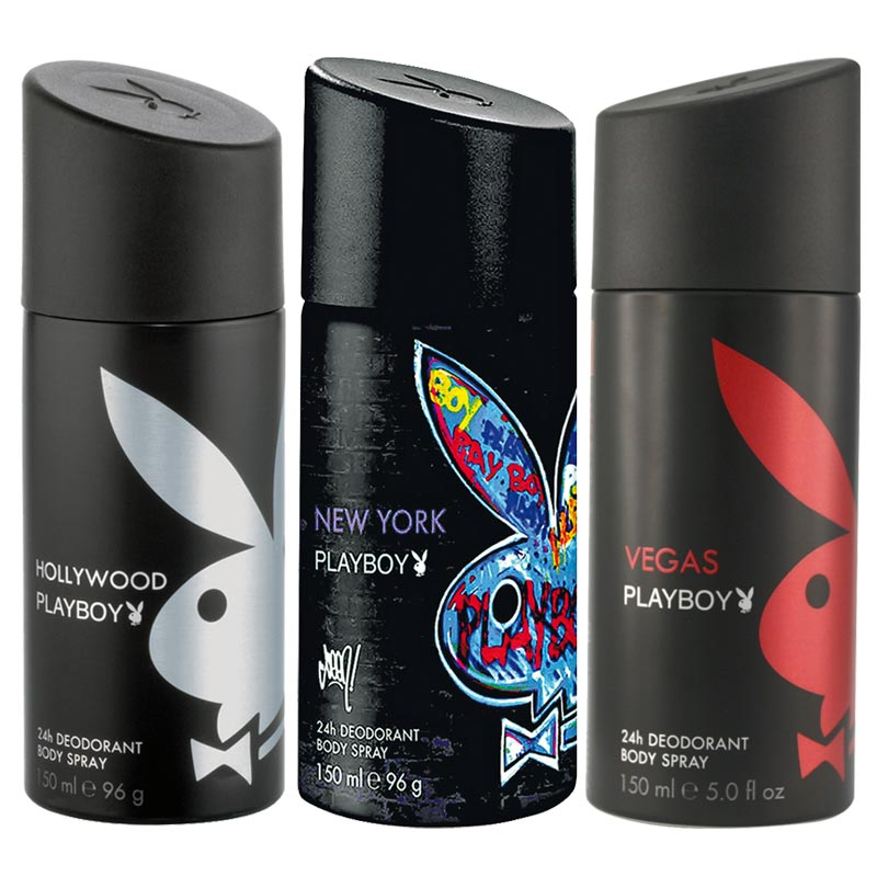 Playboy Hollywood, New York, Vegas Pack of 3 Deodorants for men
