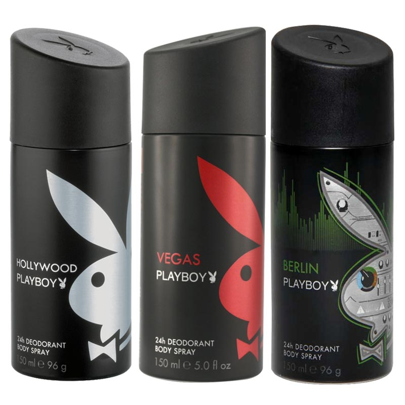 Playboy Hollywood, Vegas, Berlin Pack of 3 Deodorants for men