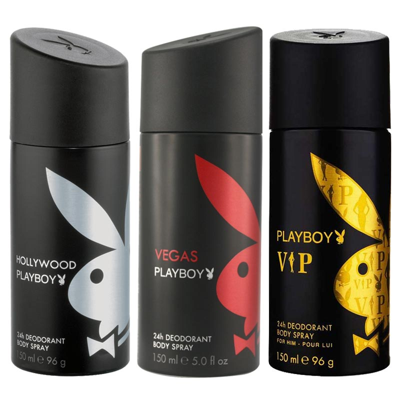 Playboy Hollywood, Vegas, VIP Pack of 3 Deodorants for men