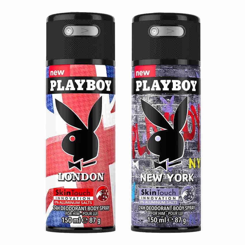 Playboy London, New York Pack of 2 Deodorants for men