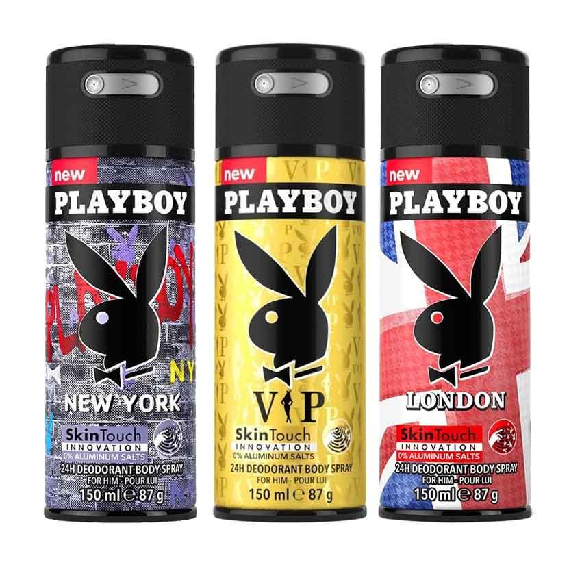 Playboy London, New York, VIP Pack of 3 Deodorants for men