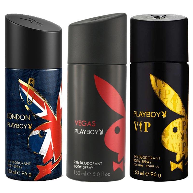 Playboy London, Vegas, VIP Pack of 3 Deodorants for men