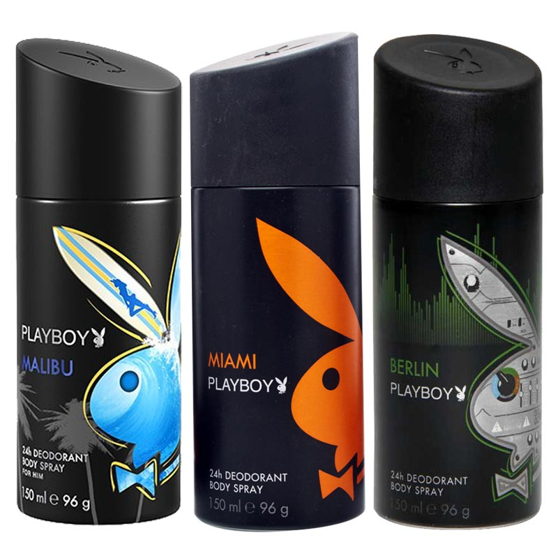 Playboy Malibu, Miami, Berlin Pack of 3 Deodorants for men