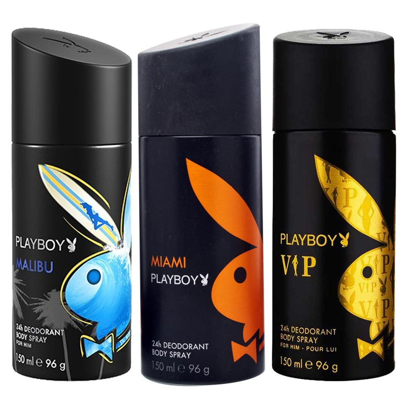 Playboy Malibu, Miami, VIP Pack of 3 Deodorants for men