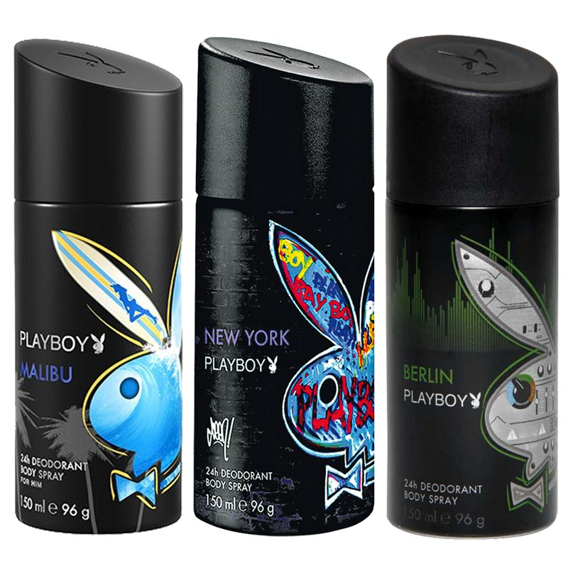 Playboy Malibu, New York, Berlin Pack of 3 Deodorants for men