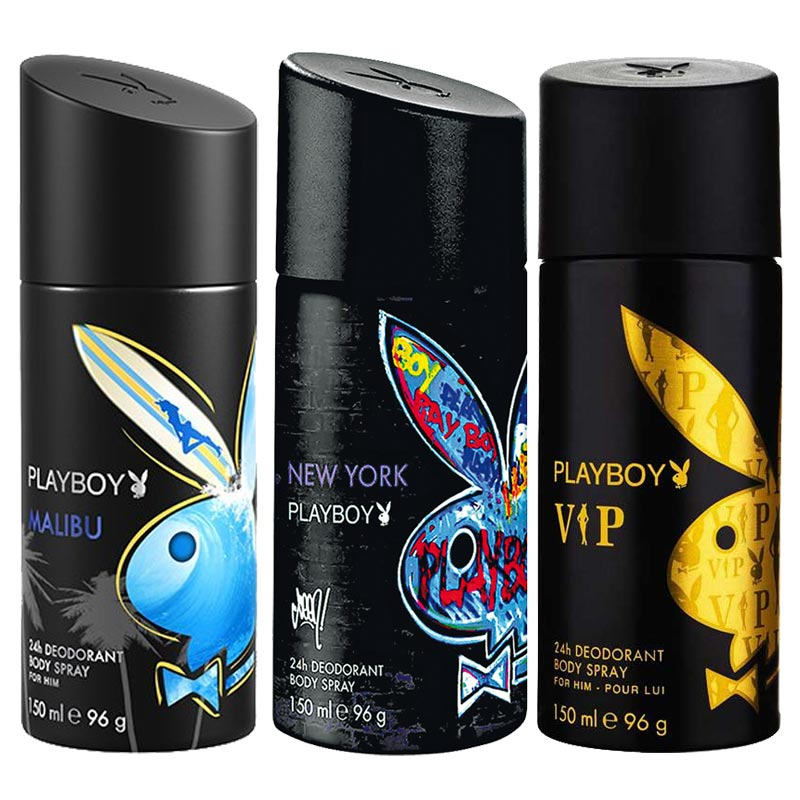Playboy Malibu, New York, VIP Pack of 3 Deodorants for men