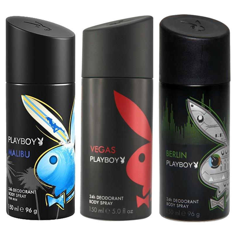 Playboy Malibu, Vegas, Berlin Pack of 3 Deodorants for men