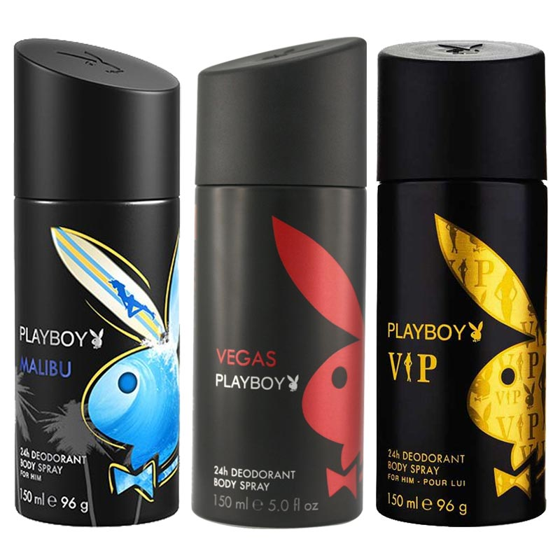 Playboy Malibu, Vegas, VIP Pack of 3 Deodorants for men