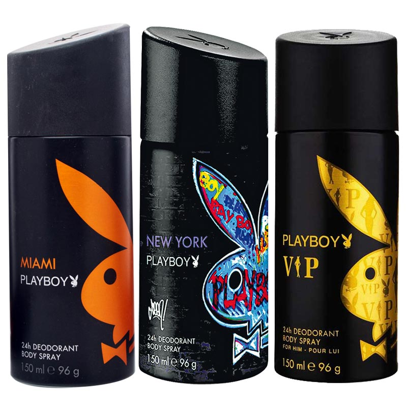 Playboy Miami, New York, VIP Pack of 3 Deodorants for men