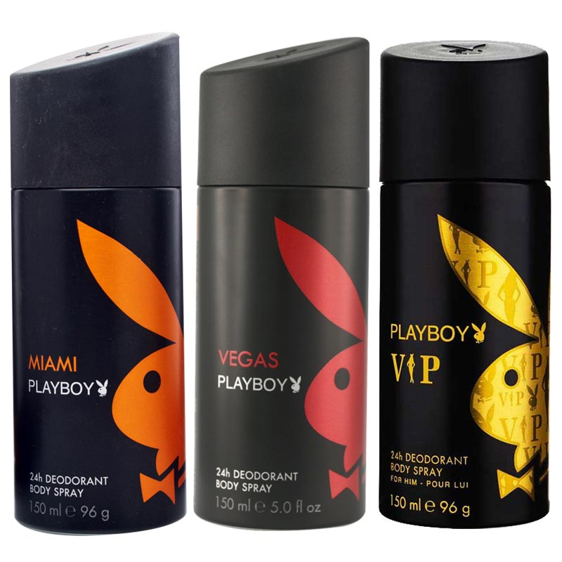 Playboy Miami, Vegas, VIP Pack of 3 Deodorants for men