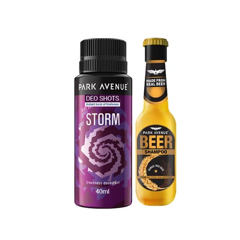 Park Avenue Combo Of Storm Shot Deodorant And Mini Beer Shampoo
