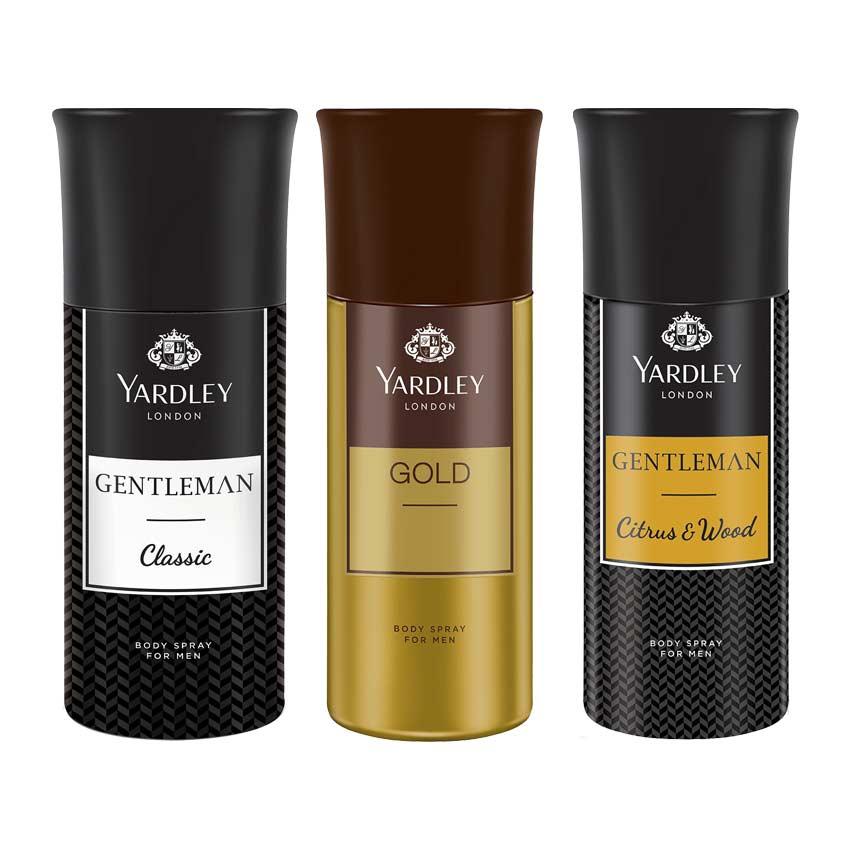 Yardley London Gentleman, Gold And Gentleman Woods Pack Of 3 Deodorants