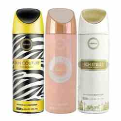 Armaf Skin Couture, Vanity Femme Essence, High Street Pack of 3 Deodorants